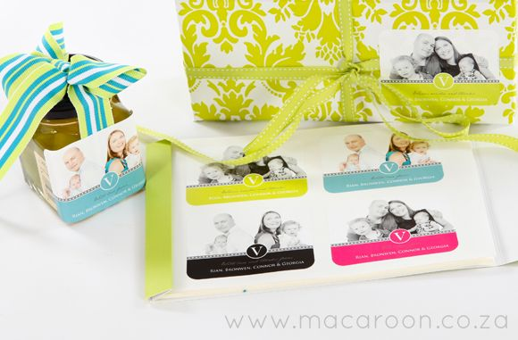 Delicacies in glass jars will delight! All you need do is simply add a personalised sticker to the jar to perfect it. Marmalades, jams, jarred fruit, pickles... the list goes on! http://www.macaroon.co/macaroon/content/en/macaroon/gift-labels