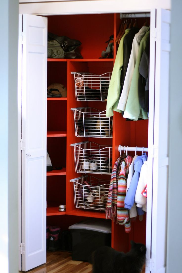 remove door, add small bench, like kiddie rack, something to protect shelving for winter boots...