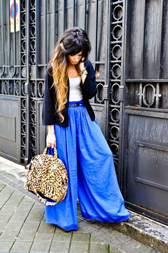 Pure ♥ electric blue - amazing pants (really, the whole outfit rocks my world) #fashion #style