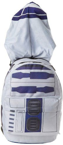 Official Star Wars R2D2 backpack with hood. Hood can be stored in the top zipper pocket.