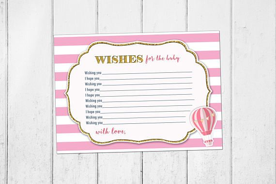 Up Up and Away Wishes for Baby,  Baby Shower Wishes for Baby Card, Wishes for Baby Baby Shower Card, Baby Shower Wishes for Baby, Girl