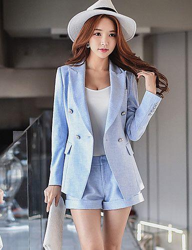 d406c17708ac7 Mujer Sofisticado Adorable Chic de Calle Vacaciones Noche Casual Diario Con  Muelle Otoño Blazer Pantalón Trajes