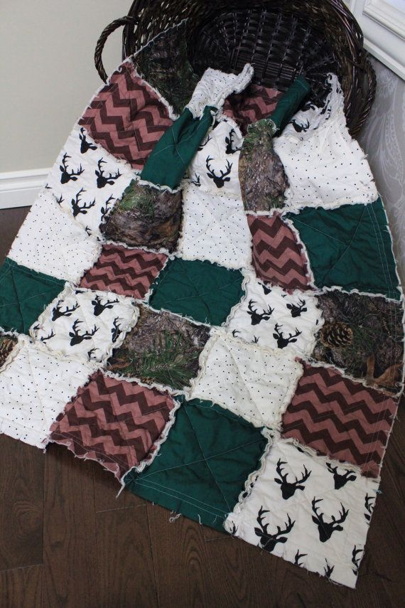 Baby Rag Quilt Baby Boy Quilt Baby Camo Quilt Deer by RozonsRags