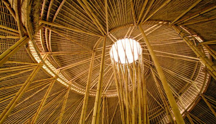 Triple Spiral Bamboo Structure forming the heart of Green School in Bali by Ibuku Architecture