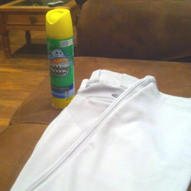 Best way to clean baseball pants!! It only took me 14 years to figure out a easier way to get the dirt out. Spray good with DOW scrubbing bubbles and let set for 10 minutes and wash or soak in water until ready to wash. For those extra tuff stains spay with DOW and wash out at the car wash.