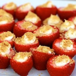 Cheesecake filled strawberries for a mini dessert! Sounds easy enough. I love it!