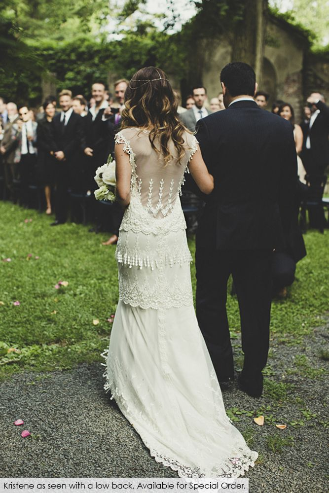 Real bride Tara in the Claire Pettibone 'Kristene' wedding dress with a custom back | Photo: Dan O'Day |