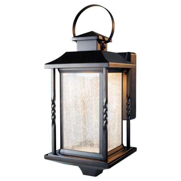 Home Decorators Collection Portable Black Outdoor Integrated Led Wall Lantern Sconce Hdi 4632 Bk The Home Depot In 2020 Wall Lantern Outdoor Wall Lantern Wall Mount Lantern