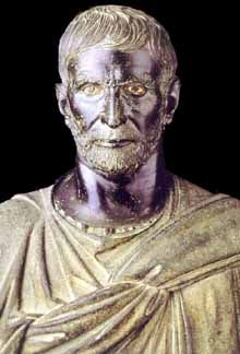 """So-called """"Capitoline Brutus"""". Bronze, Roman artwork of the Republican Era, 4th-3rd centuries BC :Lucius Junius Brutus was the founder of the Roman Republic and traditionally one of the first consuls in 509 BC. He was claimed as an ancestor of the Roman gens Junia, including Decimus Junius Brutus and Marcus Junius Brutus, the most famous of Caesar's assassins."""