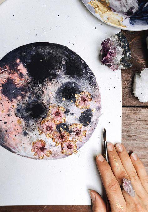 Mond, Mond-Kunst, rosa Luna