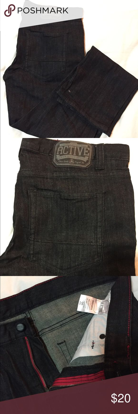 "Active Ride Shop Black denim jeans 32 x 30"" Active Ride Shop Black denim jeans. Skater classic. These are in perfect condition. Worn one time. Great pair of jeans that can be work casually or to a nice dinner. Day to night denim!!  Style: Reform (slimmed down, classic fit) Active Ride Shop Jeans Slim Straight"