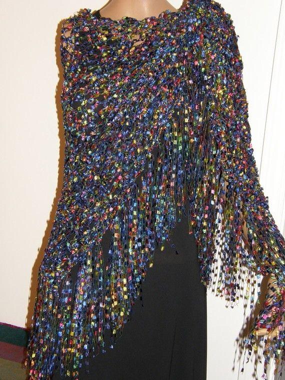 wedding Shawl Wrap ribbon yarn blue green Hand Crocheted ...