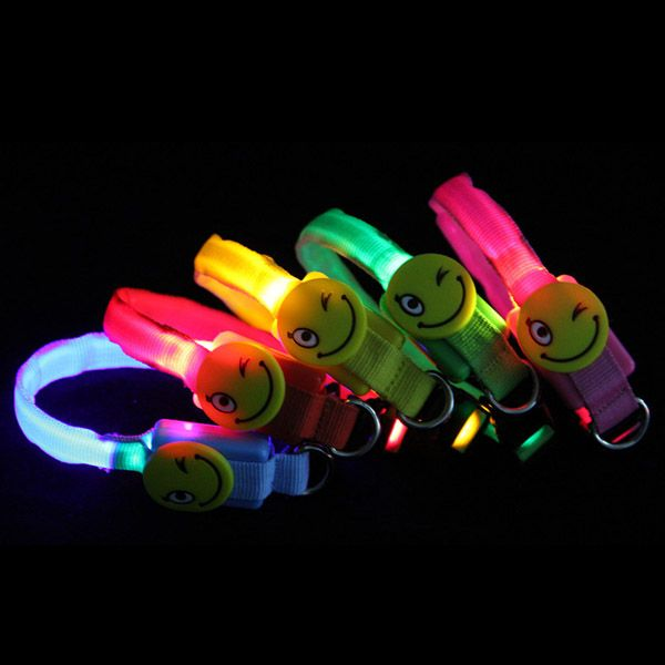 Night Safety Dog Collar LED Pet Flashing Collar With Smiling Face