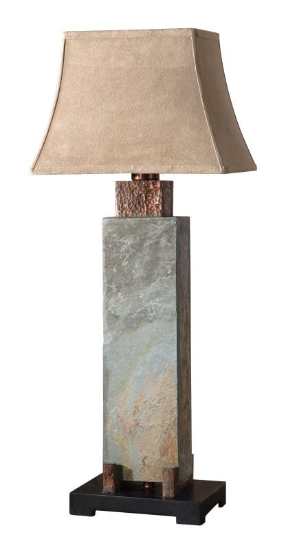 Uttermost 26308 Slate Tall Indoor/Outdoor Table Lamp Hand Carved Slate Body Hammered Copper Details Lamps Table Lamps Table Lamps