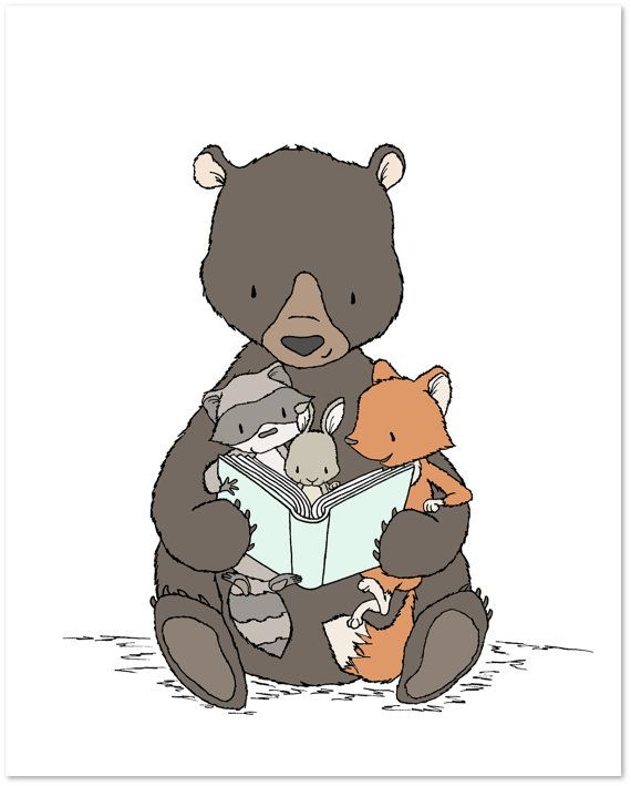 Woodland Nursery Art — Story Time With Bear — Bear, Bunny, Raccoon, Fox — Children Art Print — Kids Wall Art