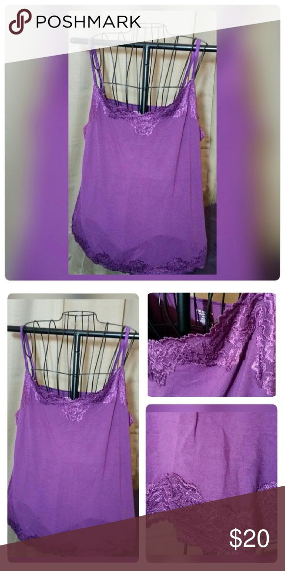 """""""the"""" Lace Cami NWOT!  Lane Bryant """"the"""" Lace Cami Size 22W/24W 23"""" across the bust, 23"""" long NOT including length of straps Purple (due to different screens, color may differ slightly!) 94% rayon, 6% spandex Adjustable shoulder straps Has gorgeous, soft 2 1/2"""" lace along the neckline & hem (see pictures). Lane Bryant Tops Camisoles"""