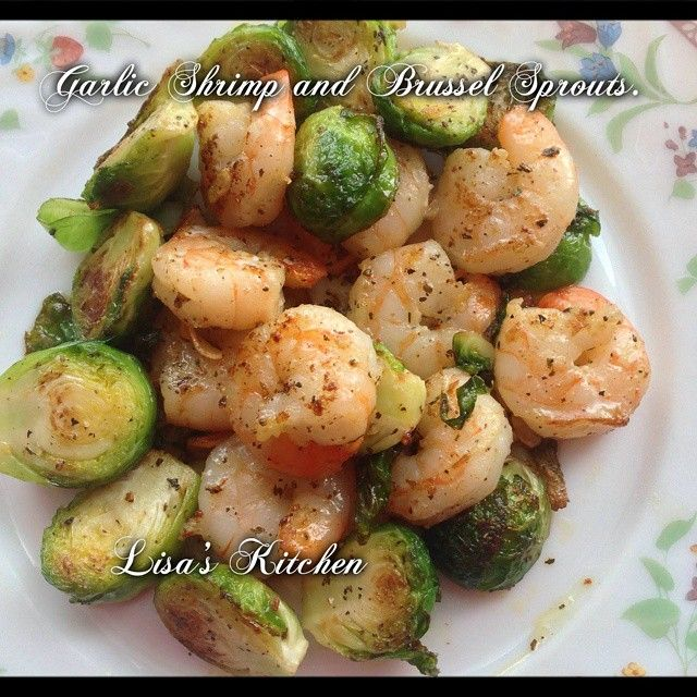 Garlic Shrimp and Brussel Sprouts 8 Brussel Sprouts cut in half 8 pre cooked shrimp 2 garlic cloves sliced a pinch or 2 of basil salt and pepper to taste about a tsp butter olive oil Preheat a skillet...