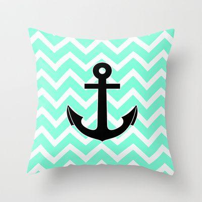 Tiffany Chevron Anchor Throw Pillow by Rex Lambo - $20.00