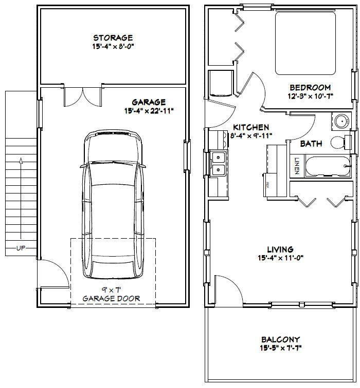 Garage Plan Chp 17570 At Coolhouseplans Com: 16x32 Tiny House -- #16X32H9 -- 647 Sq Ft