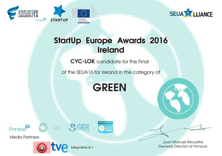 """""""If you believe in yourself and have dedication and pride - and never quit, you'll be a winner. The price of victory is high but so are the rewards"""", worth saying by Paul Bryant. We are happy to share our achievement for """"The StartUp Europe Awards 2016 Ireland"""" and grateful to each and every contributor and well-wisher of Cyc-Lok!    #SEUA16 #StartUpEuropeAwards #CycLok #Eurovision4Startups #Ireland"""