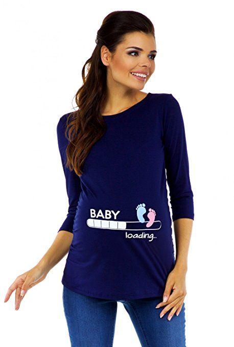 Zeta Ville - Damen Umstands-Oberteil Top T-Shirt witzige Baby Loading Druck 549c (Marine, EU 38/40)