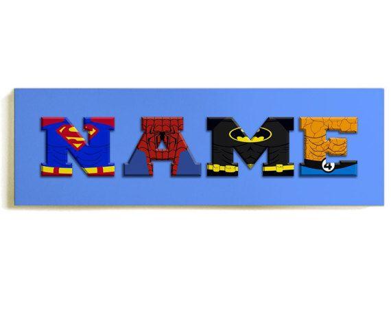 Blue Comic Super Hero Personalised Childrens Bedroom Door Sign