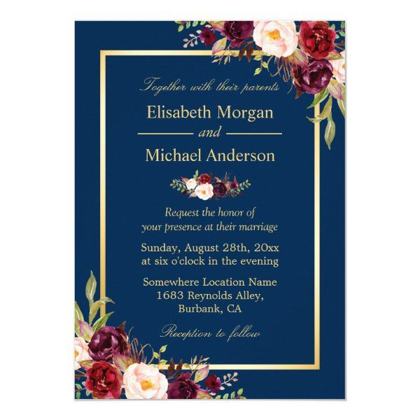 Burgundy and Gold Floral Wedding Invitation Suite Thank You Card RSVP Card and Save the Date Card Printable Navy Detail Card