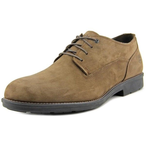 Timberland Carter Notch Wp Plain Toe Men Round Toe Leather Brown... (€48) ❤ liked on Polyvore featuring men's fashion, men's shoes, men's oxfords, brown, shoes, mens round toe shoes, mens leather shoes, mens brown oxford shoes and mens brown shoes