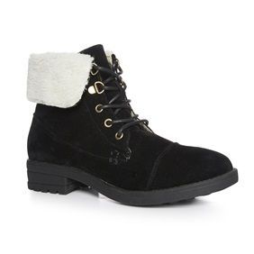 Primark - Black faux shearling cuff ankle boot