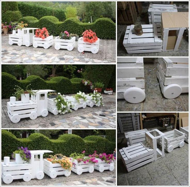 Hacer Este cajón de madera preciosa tren plantador para su jardín 1