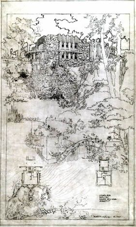 J.G. Melson House : Drawing by Marion Mahony Griffin (1912) | Walter Burley Griffin