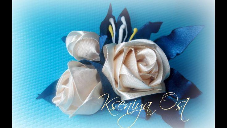 Чайная роза канзаши из лент 2,5см.