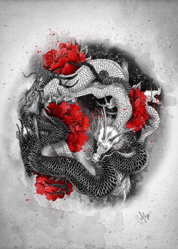 Two Dragons Metal Poster Marine Loup Displate In 2020 Japanese Tattoo Symbols Japanese Dragon Tattoos Japanese Tattoo