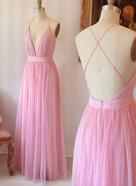 Pink v neck tulle long prom dress, pink evening dress for teens