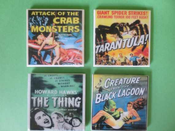 Hey, I found this really awesome Etsy listing at https://www.etsy.com/listing/195760905/old-horror-movie-coasters-with-glass