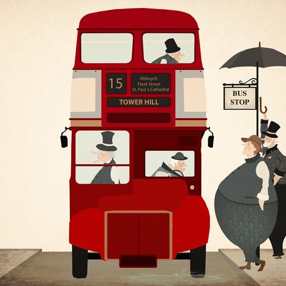 London Double Decker Bus illustration