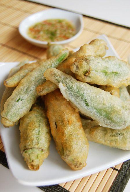 Okra tempura with comeback sauce
