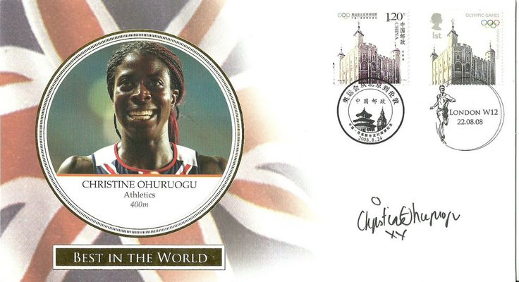 Beijing Olympics 'Best in the World' FDC signed by Christine Ohuruogu(Athletics)