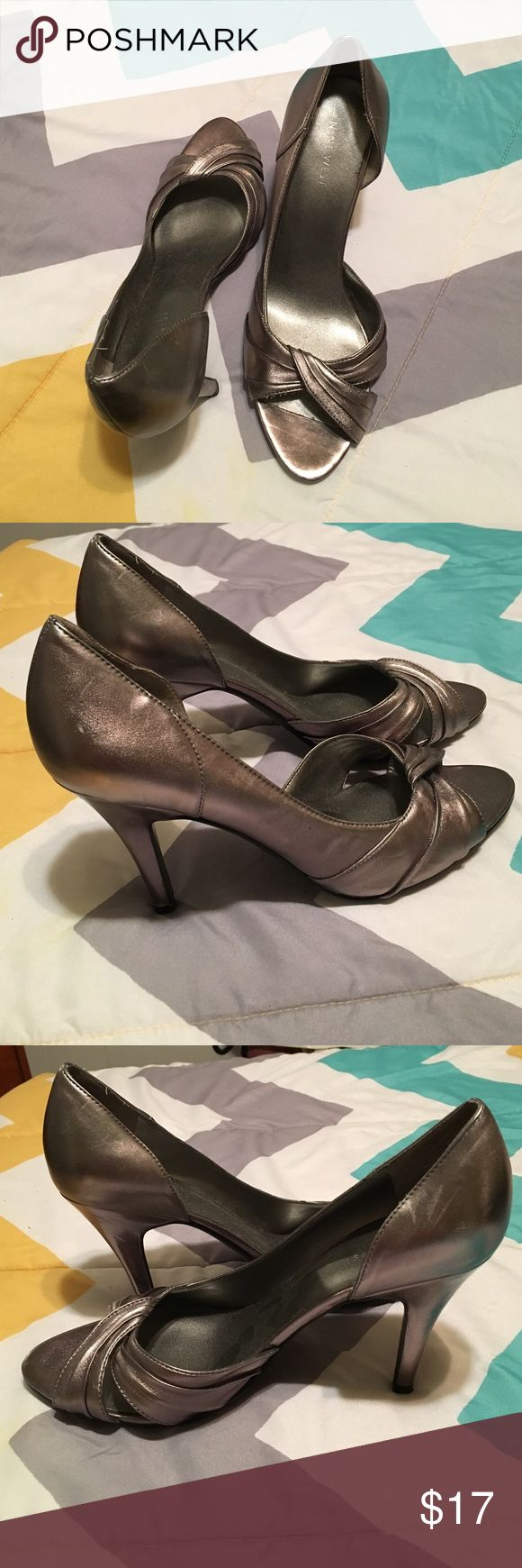 Peep toe pewter pumps Peep toe pumps Nine West Shoes Heels