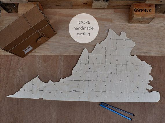 The shape of Virginia for wedding guest book 100% handmade cutting. One other idea... print the first letter of your name and your wedding day or