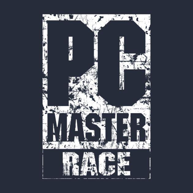 PC Master Race - Shirt on Teepublic https://www.teepublic.com/t-shirt/180347-pc-master-race-grunge | pcmasterrace pc gaming gamer video game videogame video games videogames logo white monochrome monochromatic grunge grungy distressed geek geeky nerd nerdy funny humor meme shirt tshirt