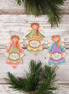 Holiday Angel Ornaments from the book Winter Whimsy, Vol. 4 by Renee Mullins. Book and wood surface available at www.ArtistsClub.com