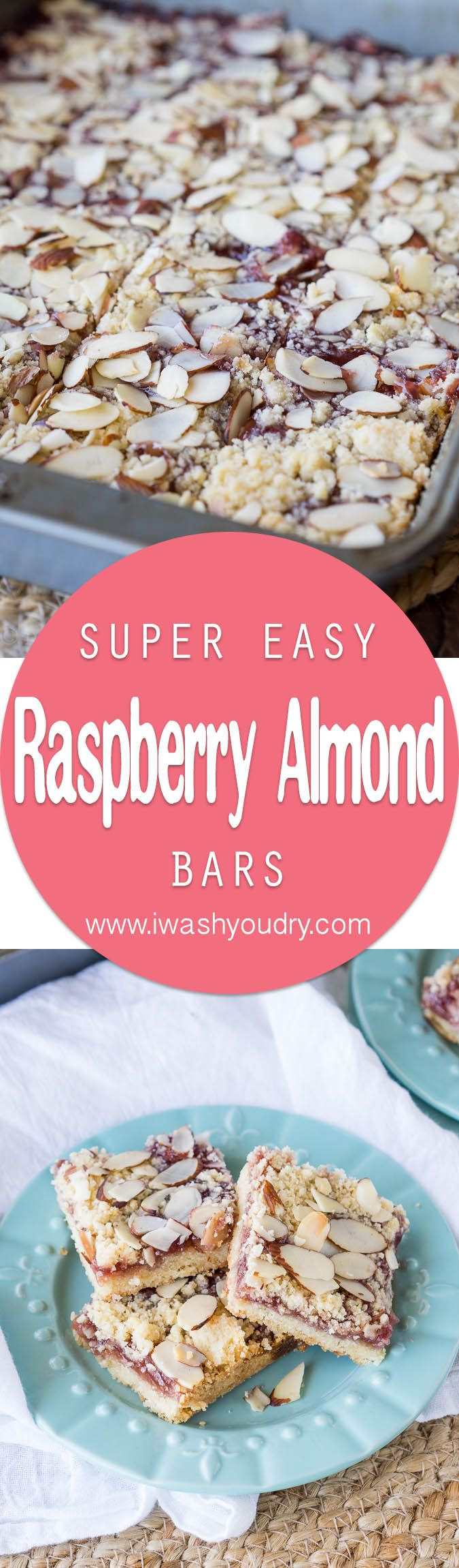 These soft and tender Raspberry Almond Bars have a shortbread cookie type crust and a wonderful almond flavor!