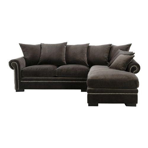 Canapé d'angle 5 places en velours gris