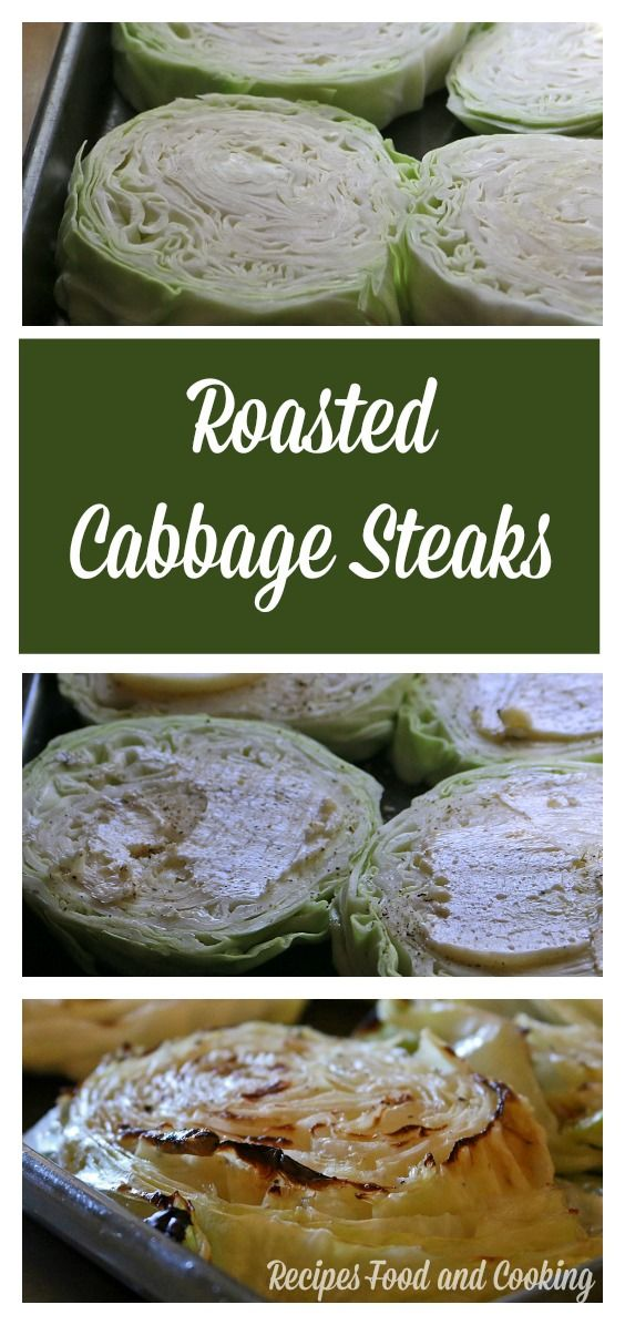 Roasted Cabbage Steaks - Thick cut cabbage slices steamed in the oven, then roasted and broiled to finish.  https://recipesfoodandcooking.com/2018/03/04/cabbage-steaks/  #SundaySupper #StPatricksDay #healthy