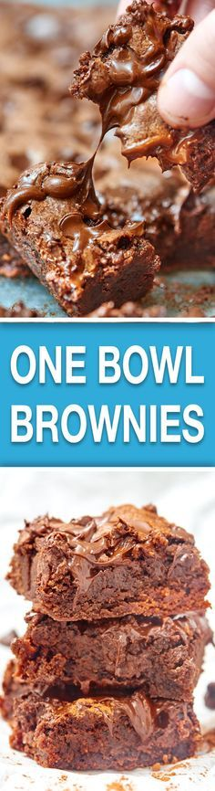 These are the easiest brownies...ever. You need 8 ingredients, 5 minutes, and 1 bowl to make these rich, chocolatey brownies! Think you can handle it? :) showmetheyummy.com #brownies #baking