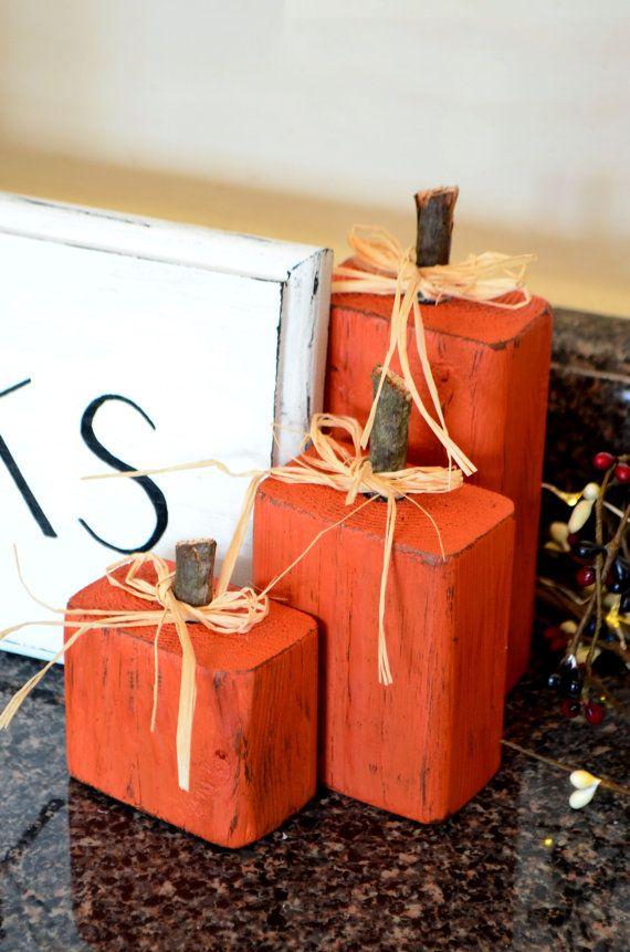 Items similar to Handmade Wood Pumpkins on Etsy