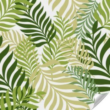 Naklejka - Zielone liście palmy. Wektor wzór. Natura organiczna