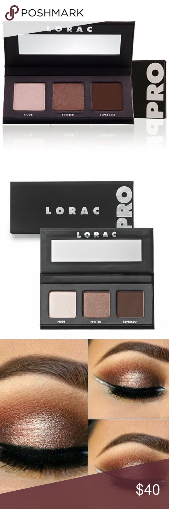 LORAC  PRO Palette PRO Palette - the perfect trio to keep your eyes looking glamorous on the go. LORAC's velvety-smooth eye shadows are ultra-pigmented and packed with long-lasting PRO power so you can easily shade, shadow, line and define, just like a PRO! Shades From Left to Right: Nude (shimmer), Pewter (shimmer), Espresso (matte).   A $57 value! Makeup Eyeshadow