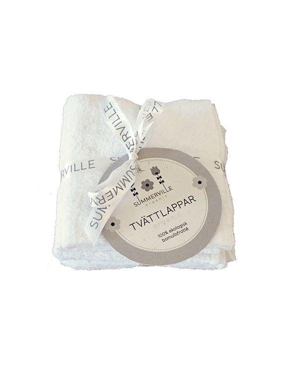 Tvättlappar Summerville Ekologisk Bomull - Vit, 5-pack